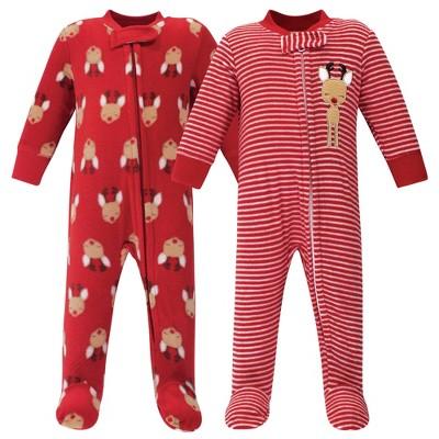 Hudson Baby Baby Fleece Zipper Sleep and Play 2pk, Red Reindeer