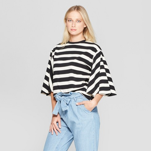 Women's Striped Bell Sleeve Crew Neck Top - Who What Wear™ Black/White L - image 1 of 3