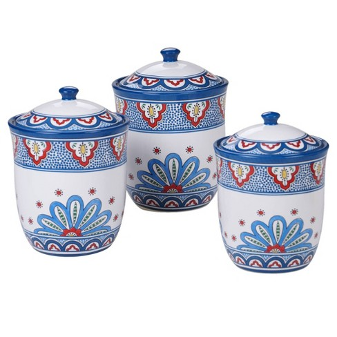 3pc Earthenware Tangier Canister Set Blue - Certified International - image 1 of 1