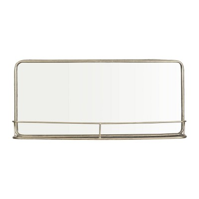Metal Framed Mirror with Shelf Silver - 3R Studios