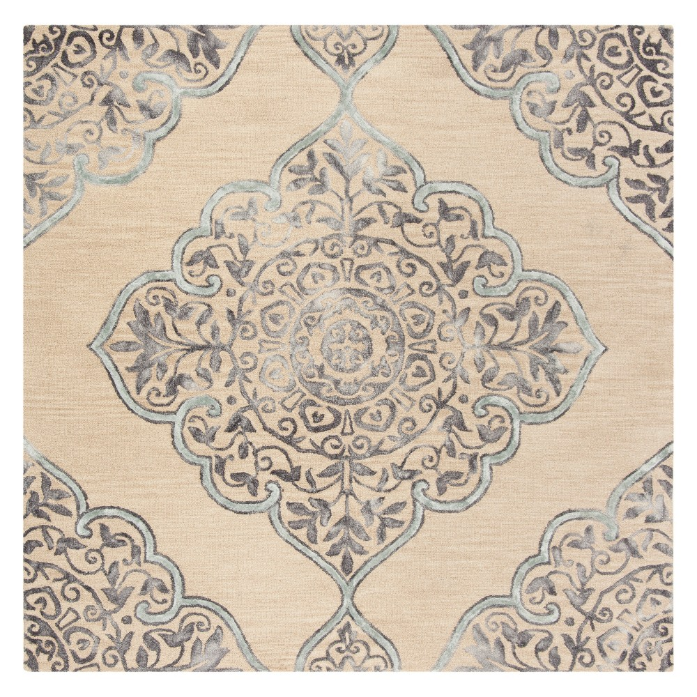 7'X7' Medallion Tufted Square Area Rug Beige/Blue - Safavieh