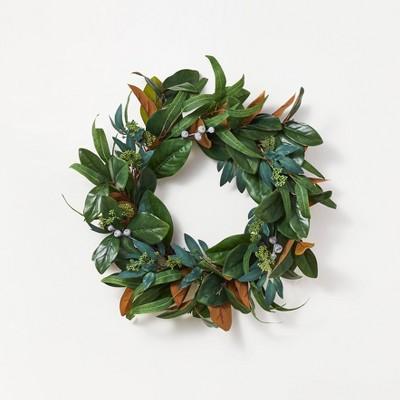 "26"" Artificial Magnolia Wreath White/Green - Threshold™ designed with Studio McGee"