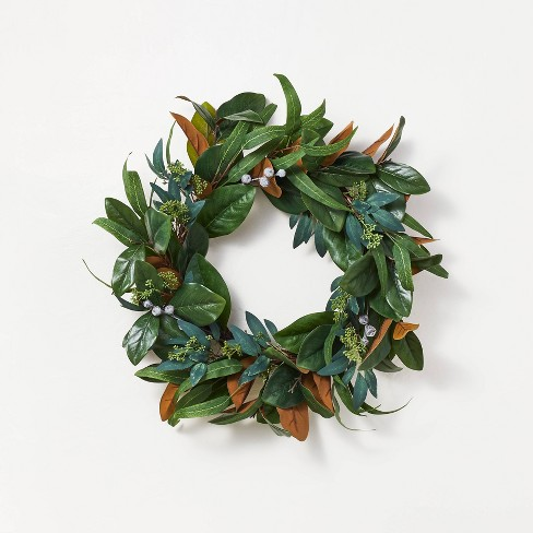 """26"""" Artificial Magnolia Wreath White/Green - Threshold™ designed with Studio McGee - image 1 of 4"""