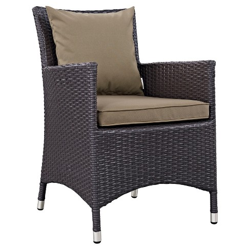 Convene Dining Outdoor Patio Armchair in Espresso Mocha - Modway - image 1 of 3