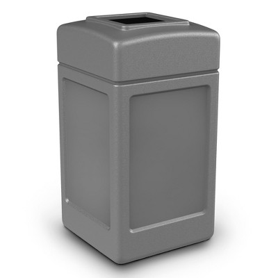 Commercial Zone 732101 Open-Top Indoor/Outdoor Square 42 Gallon Large Waste Trash Container Bin, Gray