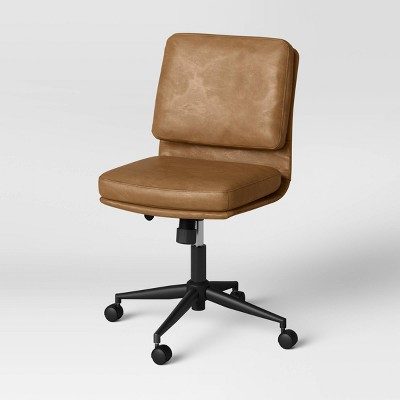 Raeford Faux Leather Office Chair Black/Caramel Faux Leather - Threshold™