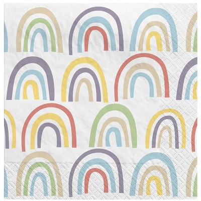 30ct Rainbow Recycled Paper Lunch Napkins - Spritz™