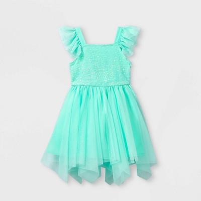 Toddler Girls' Sequin Tank Tulle Flutter Sleeve Dress - Cat & Jack™ Mint