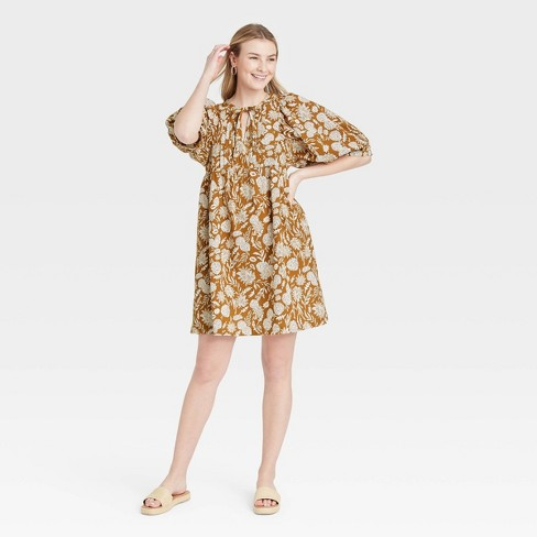 Women's Puff Elbow Sleeve Babydoll Dress - Universal Thread™ - image 1 of 3
