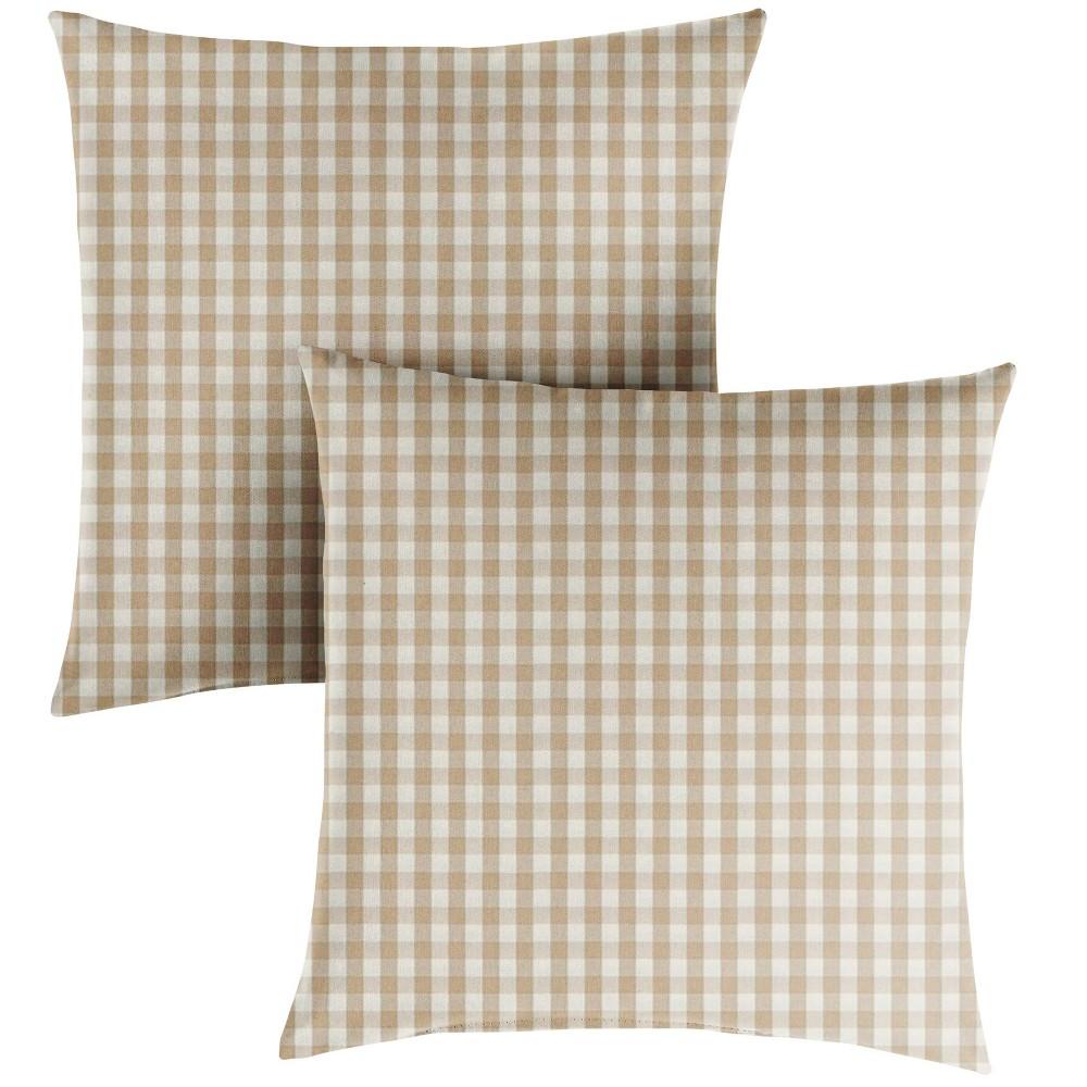 """Image of """"16"""""""" 2pk Outdoor Throw Pillows Beige/White"""""""