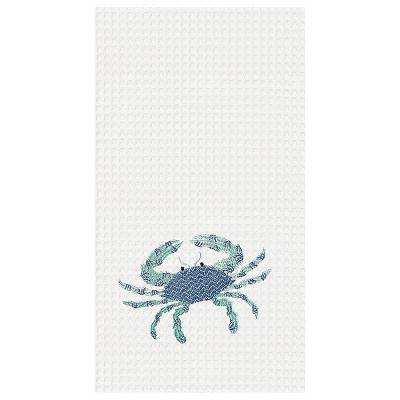C&F Home Crab Waffle Weave Embroidered Cotton Kitchen Towel