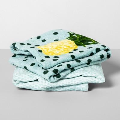 2pk Aqua Pineapple Dot Hand Towels Aqua - Opalhouse™