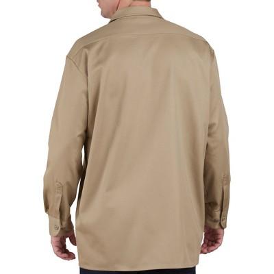 Dickies Men's Relaxed Fit Heavy Weight Cotton Work Shirt - Khaki XXL, Green