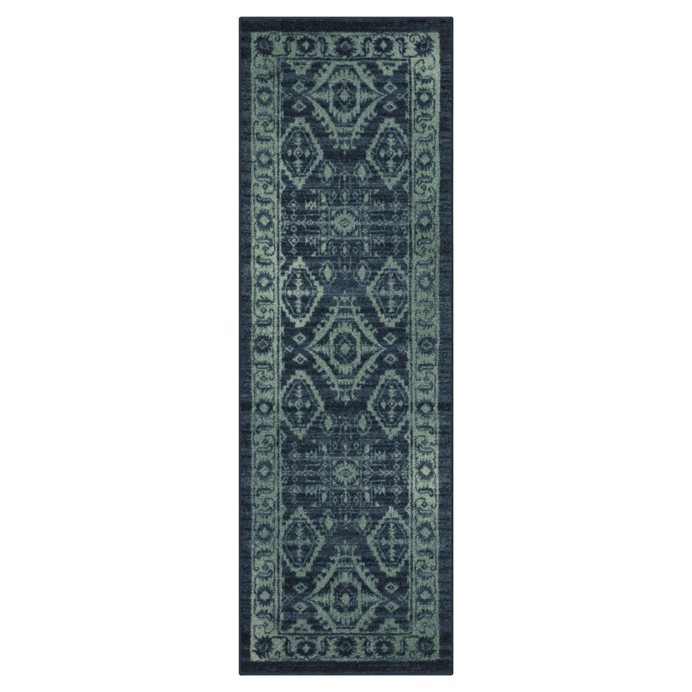 Image of 2'X6' Runner Tribal Design Navy - Maples
