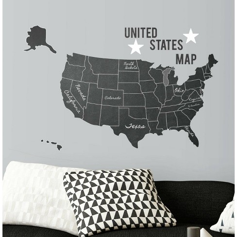 United States Chalk Map Peel and Stick Giant Wall Decal - RoomMates - image 1 of 4