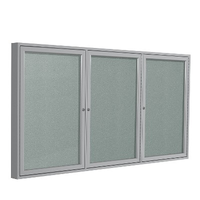 Ghent 3 Door Enclosed Vinyl Bulletin Board with Satin Frame 4'H x 8'W Silver PA34896VX193