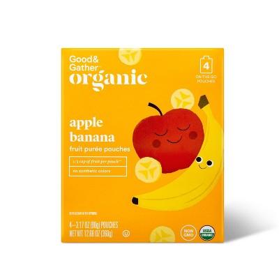 Organic Applesauce Pouches - Apple Banana - 4ct - Good & Gather™