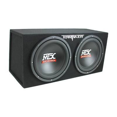 MTX TNE212D Terminator 12 Inch 1200 Watt 2 Ohm Single Voice Coil Car Audio Dual Loaded Subwoofer Speaker Box Enclosure for Vehicle Sound System