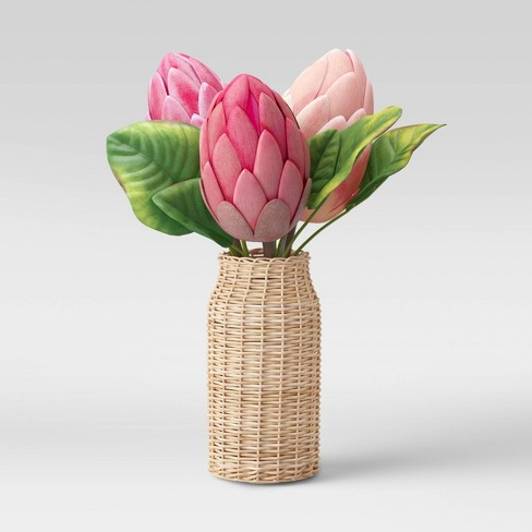 "14"" x 8"" Artificial Protea Arrangement in Rattan Vase Pink/Green - Opalhouse™ - image 1 of 1"