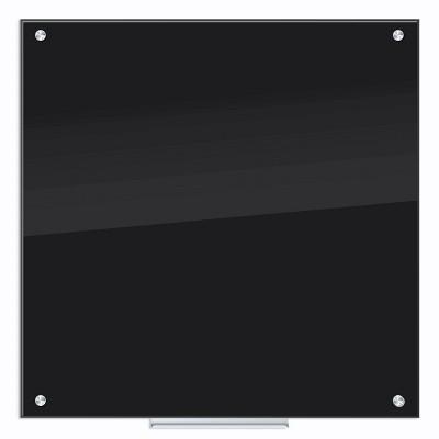 "U-Brands 36"" Glass Dry Erase Board - Frameless, Black Surface"