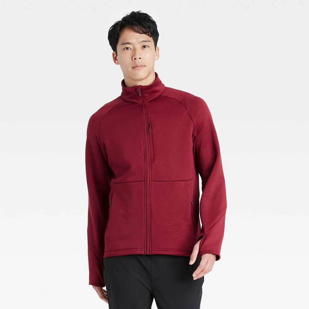 Men 39 S Stretch Crewneck Jacket All In Motion 8482 Red M