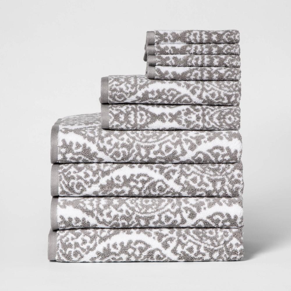 Image of 10pk Towel Set Gray Ogee - Threshold