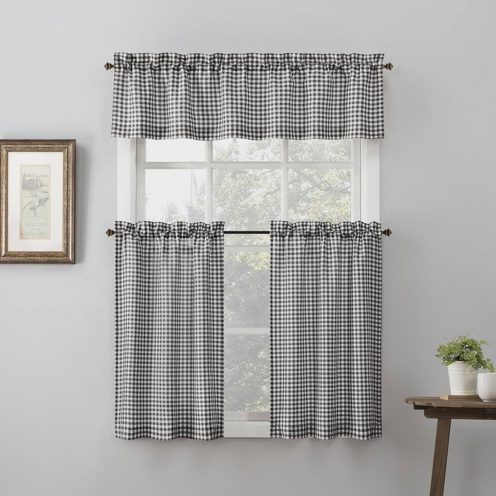 "Image of ""54""""x24"""" Parkham Farmhouse Plaid Rod Pocket Semi-Sheer Kitchen Curtain Valance and Tiers Set Black/White - No. 918, Size: 54""""x24"""""""