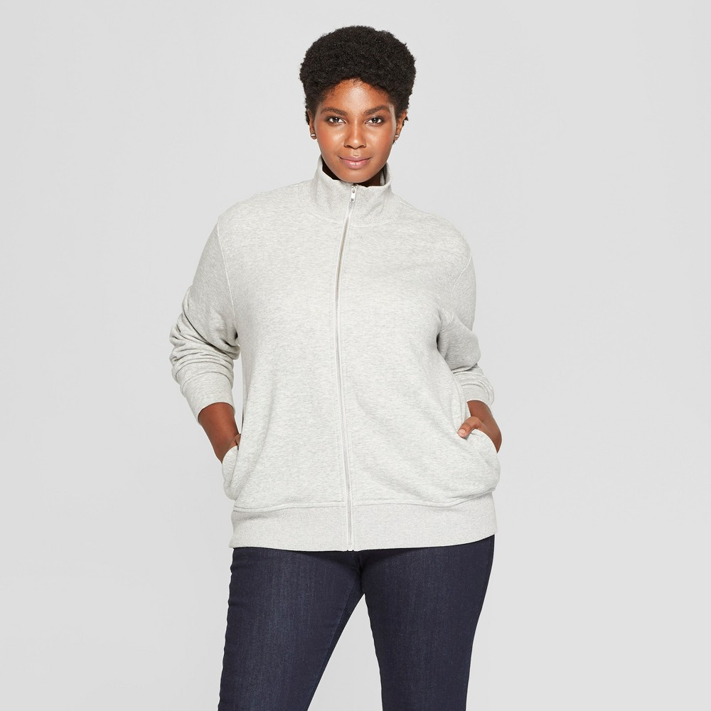 Women's Plus Size Zip Front Track Jacket - Ava & Viv Light Heather Gray X