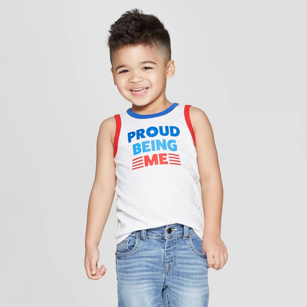 Toddler Boys' Proud Being Me Tank Top - Cat & Jack White 4T