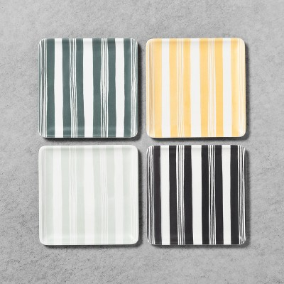 4pk Melamine Appetizer Plates Striped - Hearth & Hand™ with Magnolia