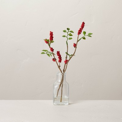 Faux Red Berry Stems Glass Arrangement - Hearth & Hand™ with Magnolia
