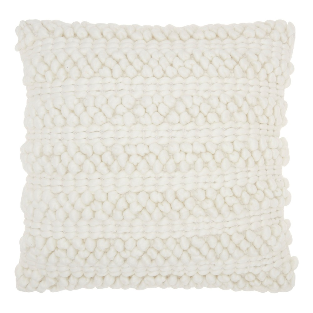 Image of White Solid Throw Pillow - Mina Victory