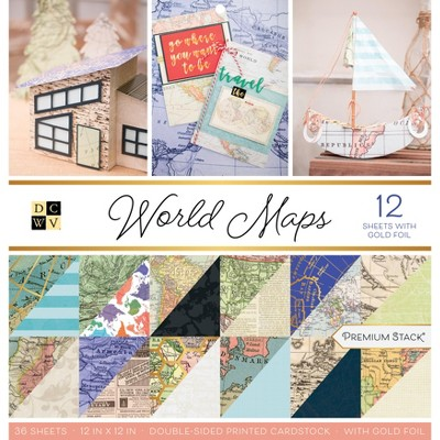 """DCWV Double-Sided Cardstock Stack 12""""X12"""" 36/Pkg-World Maps W/Foil Accents"""