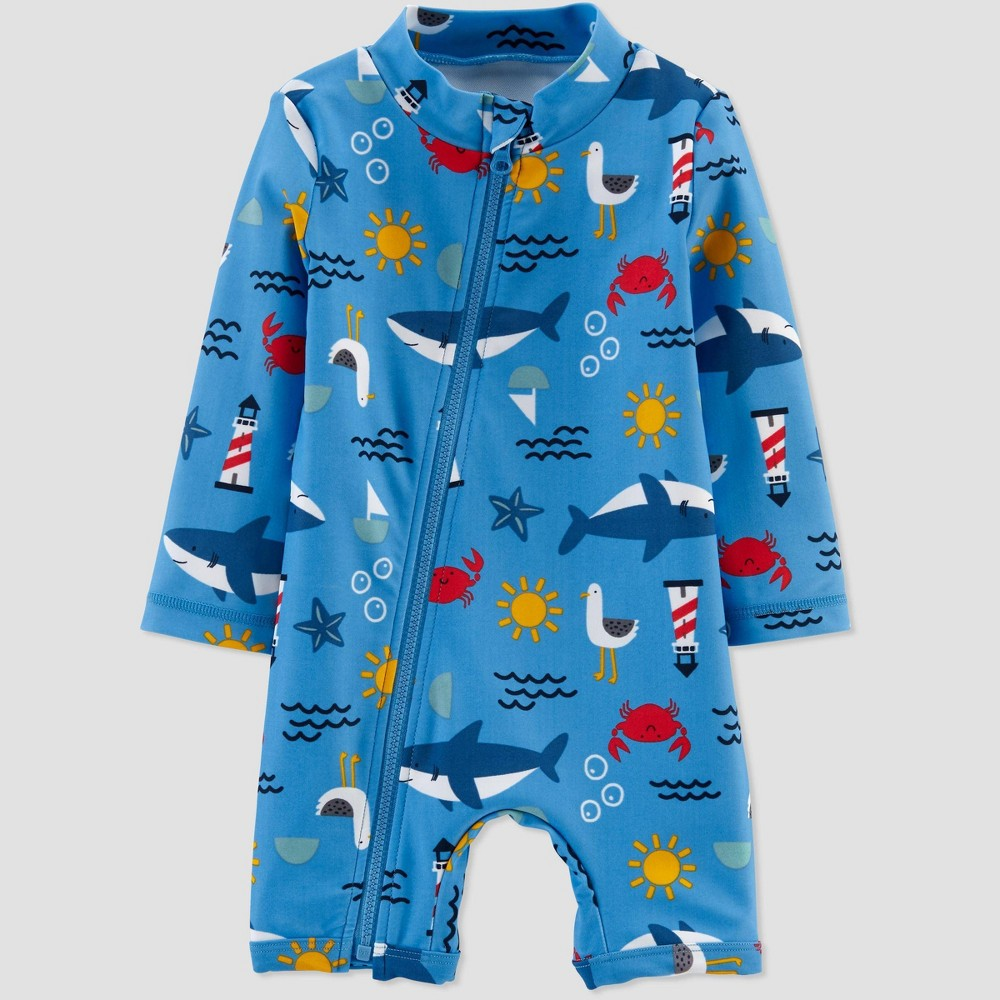 Image of Baby Boys' Whales One Piece Swimsuit - Just One You made by carter's Blue 3M, Boy's
