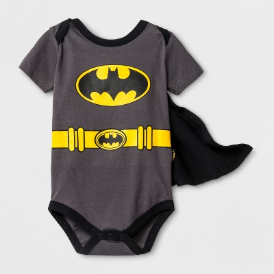 Baby Boys' DC Comics Batman Short Sleeve Bodysuit with Cape - Gray 6-9M