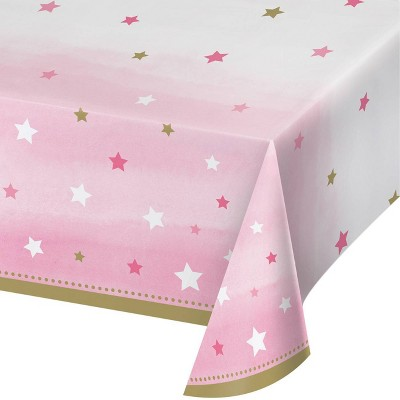 3ct One Little Star Girl Plastic Tablecloths