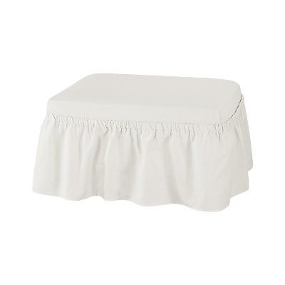 2pc Essential Twill Ruffle Ottoman Slipcover White - Sure Fit