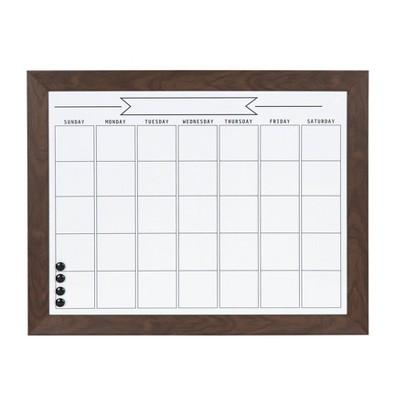"29"" x 23"" Beatrice Framed Magnetic Dry Erase Monthly Calendar Brown - DesignOvation"