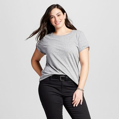 add29357630 Women s Plus Size Crew Neck T-Shirt - Ava   Viv™ Flat Gray 1X   Target