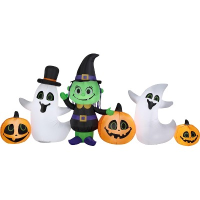 Gemmy Airblown Witch Ghost and JOL Collection Scene OPP , 4 ft Tall, Multicolored