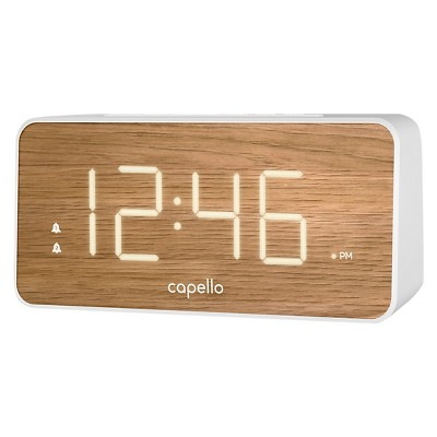 Extra Large Display Digital Alarm Clock White/Pine - Capello®