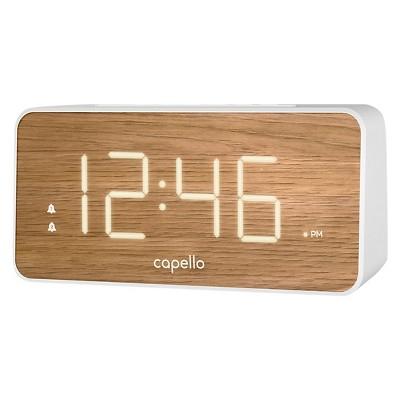Extra Large Display Digital Alarm Clock White/Pine - Capello®
