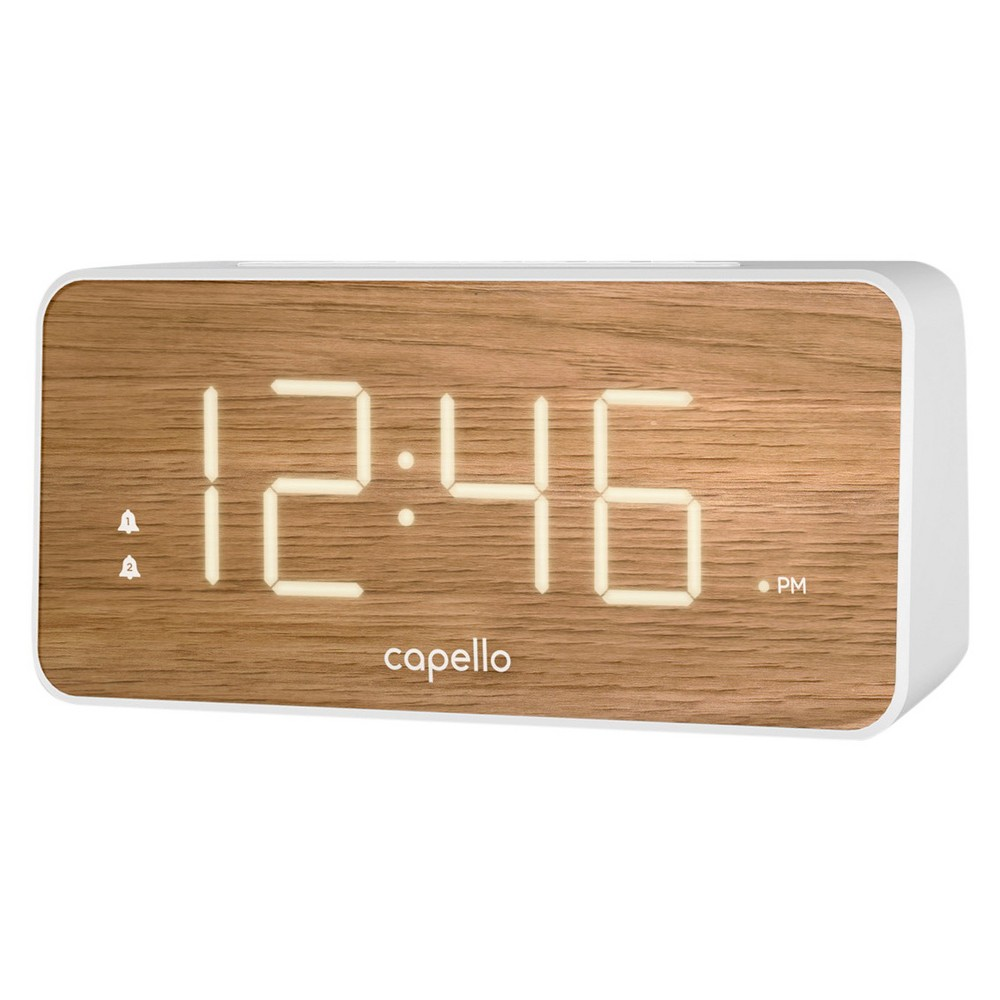 Image of Extra Large Display Digital Alarm Clock White/Pine - Capello