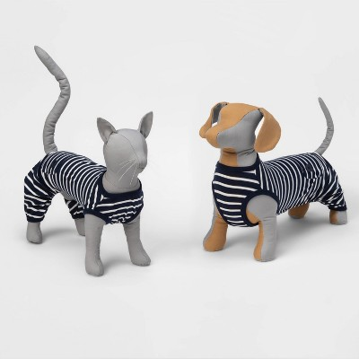 Striped Dog and Cat Matching Family Pajamas - Navy