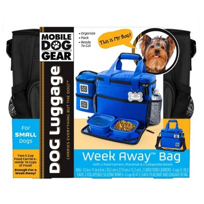 Overland Dog Gear Travel Bag - Week Away Bag for Small Dogs with 2 Food Carriers, Placemat & 2 Bowls