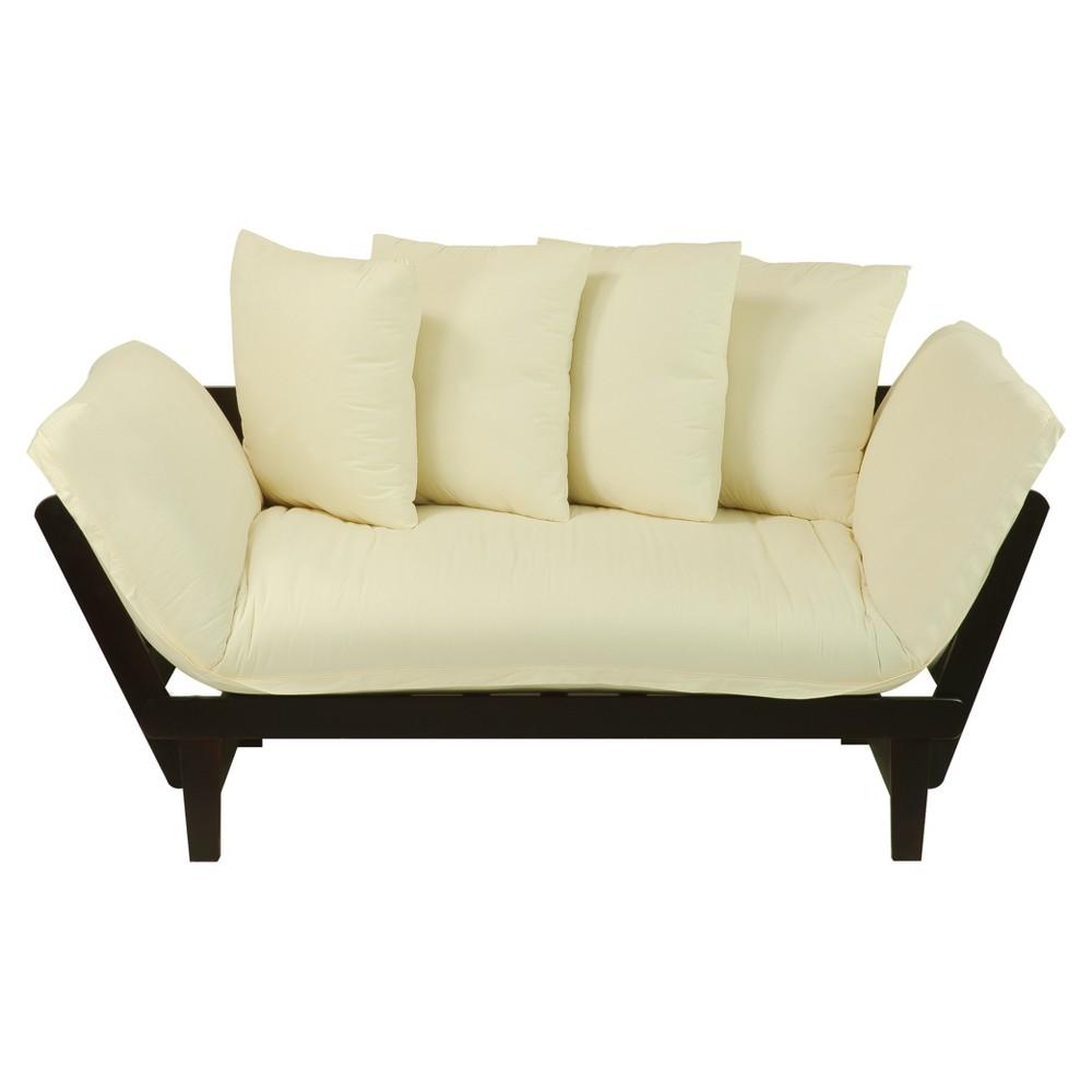 Sofa Bed - Espresso Frame with Ivory Fabric - Flora Home
