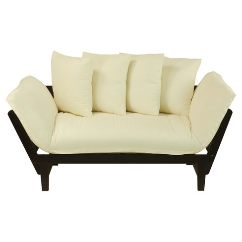 Sofa Bed - Espresso Frame with Ivory Fabric -  Flora Home - image 1 of 7