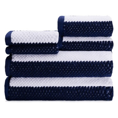 6pc Rugby Stripe Navy Bath Towels Sets - Caro Home