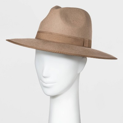 Women's Wide Brim Felt Fedora Hat - A New Day™ Taupe One Size