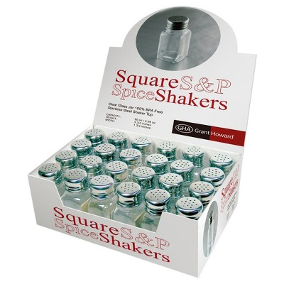 Grant Howard 50104 2.5 Ounce Square Salt and Pepper Table Shakers, Set of 24
